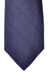 Barba Sevenfold Tie Midnight Blue Brown Geometric
