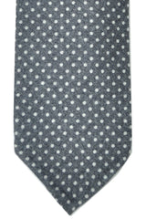 Barba Wool Sevenfold Tie Metal Gray Dots