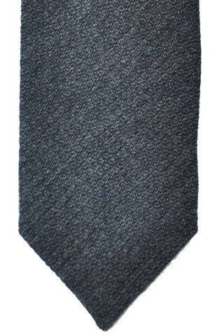 Barba Sevenfold Tie Wool Cashmere Charcoal Gray SALE