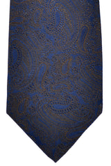 Barba Sevenfold Tie Dark Blue Brown Paisley