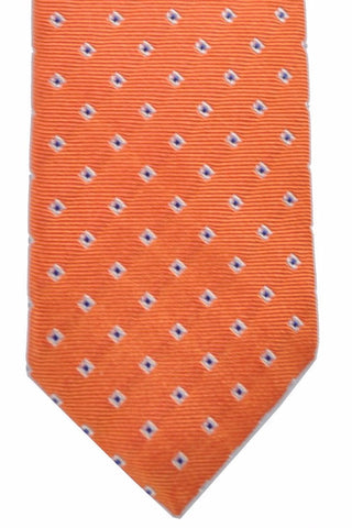 Barba Sevenfold Tie Orange Navy Geometric