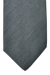 Barba Sevenfold Tie Charcoal Gray Solid Cotton Silk SALE