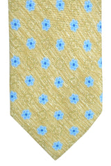 Barba Sevenfold Tie Cream Blue Tulips Design