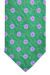Barba Sevenfold Tie Green Pink Floral Design