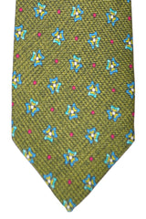 Barba Sevenfold Tie Olive Royal Blue Fuchsia Geometric