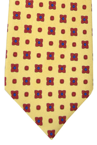 Barba Sevenfold Tie Yellow Maroon Navy Classic Geometric