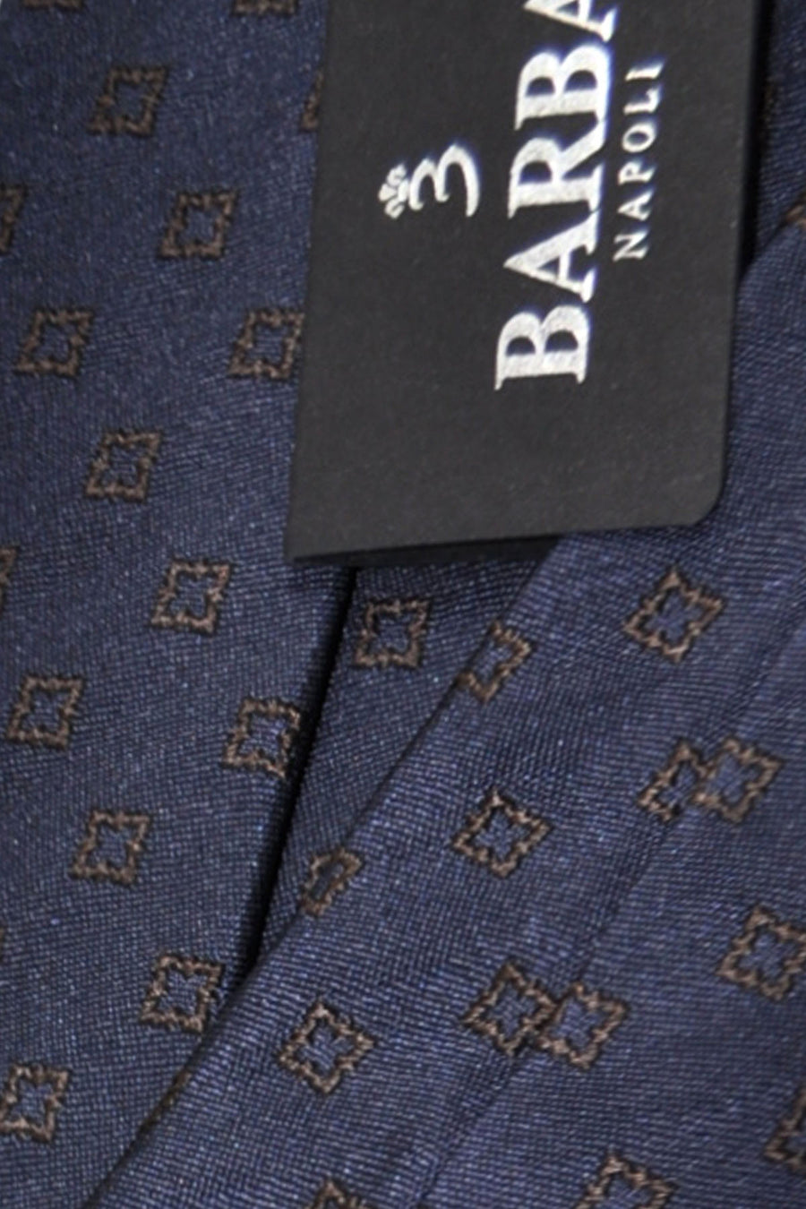 Barba Sevenfold Tie Dark Navy Brown Geometric