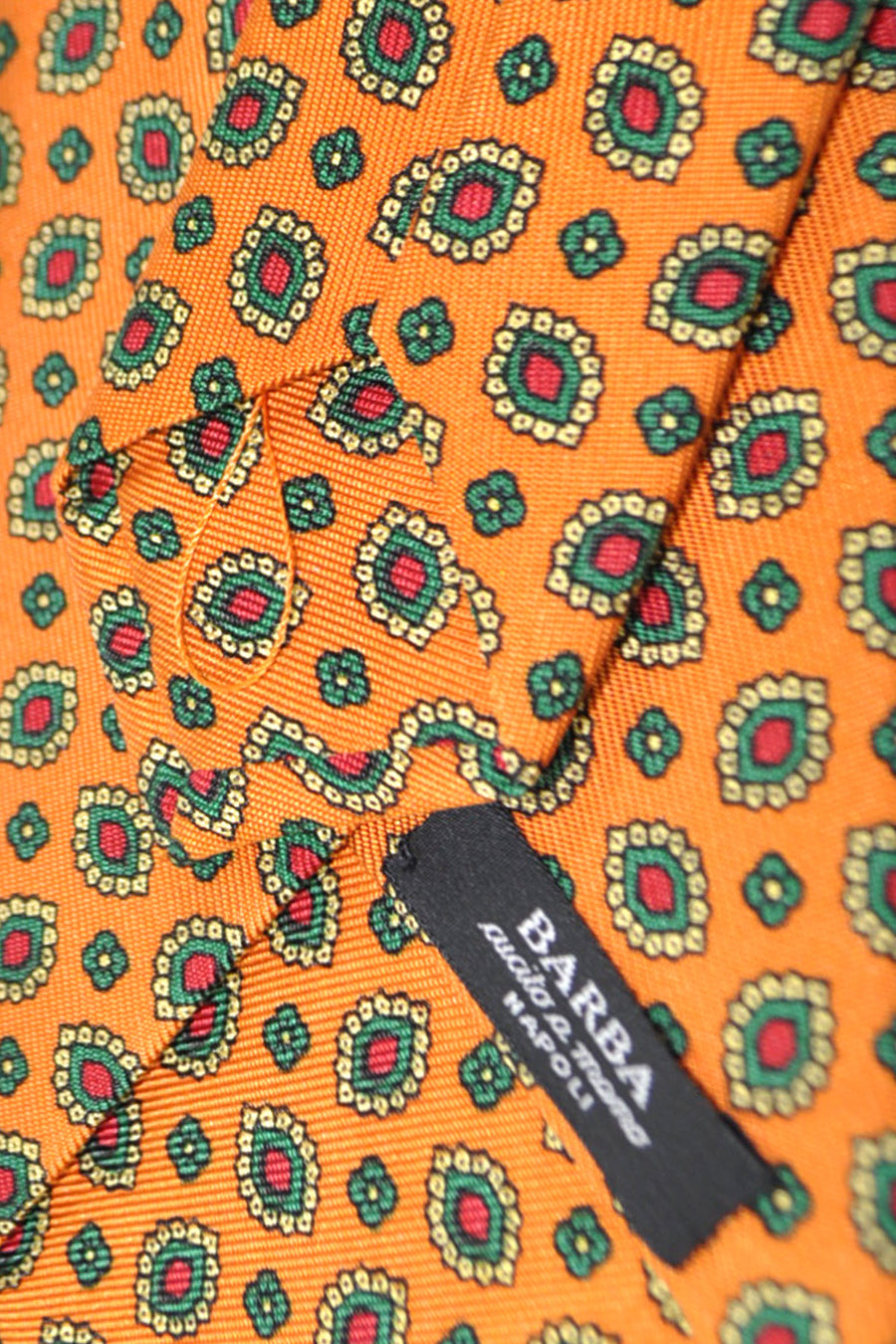 Barba Sevenfold Tie Orange Green Red Floral