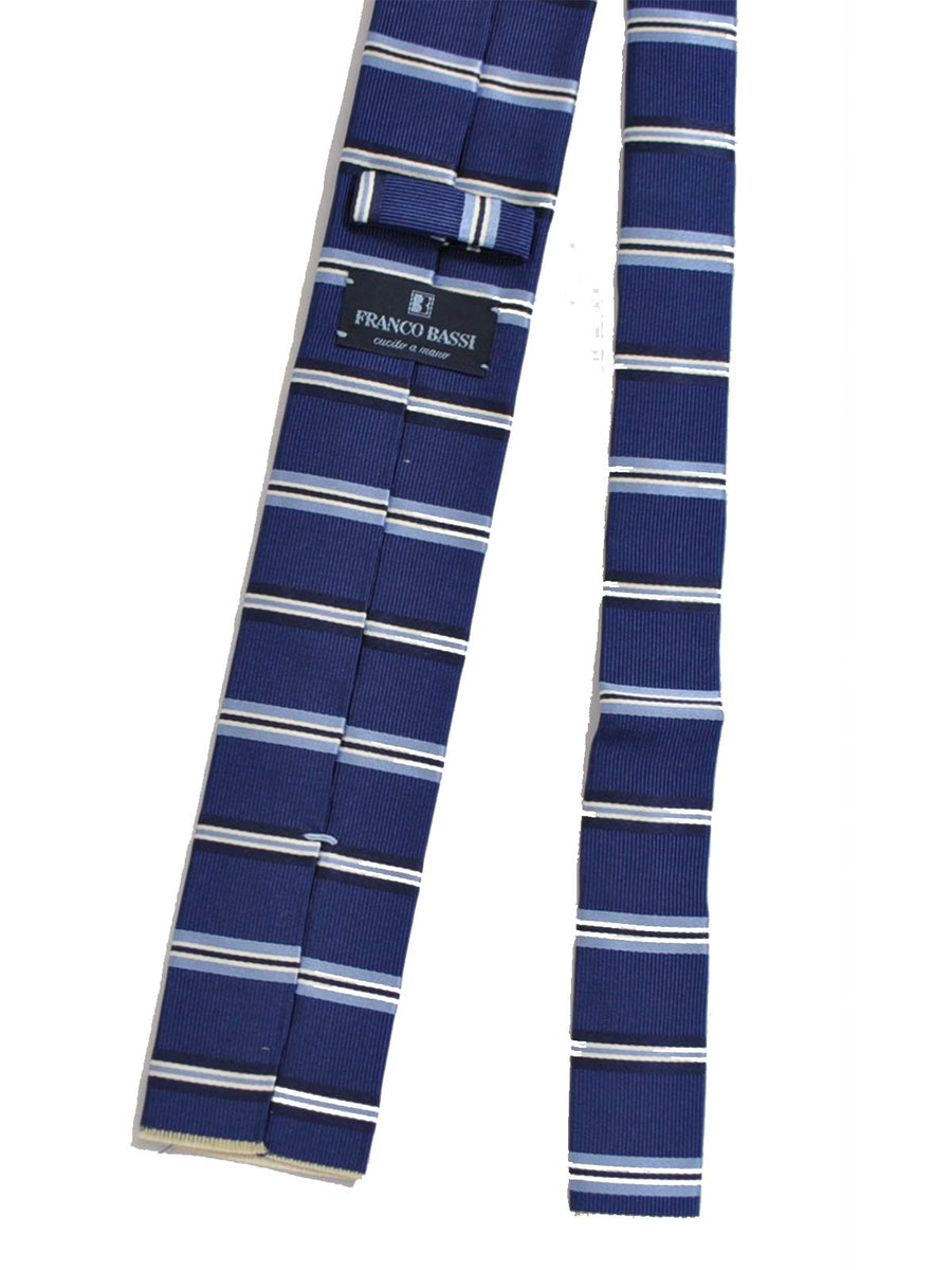 Franco Bassi Tie Navy Stripes Square End Necktie