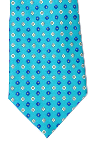 Franco Bassi Tie Aqua Geometric - Made in Italy