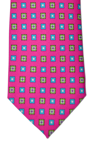 Franco Bassi Tie Pink Aqua Lime Geometric - Hand Made in Italy