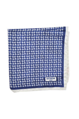 Battistoni Silk Pocket Square Navy White Birds