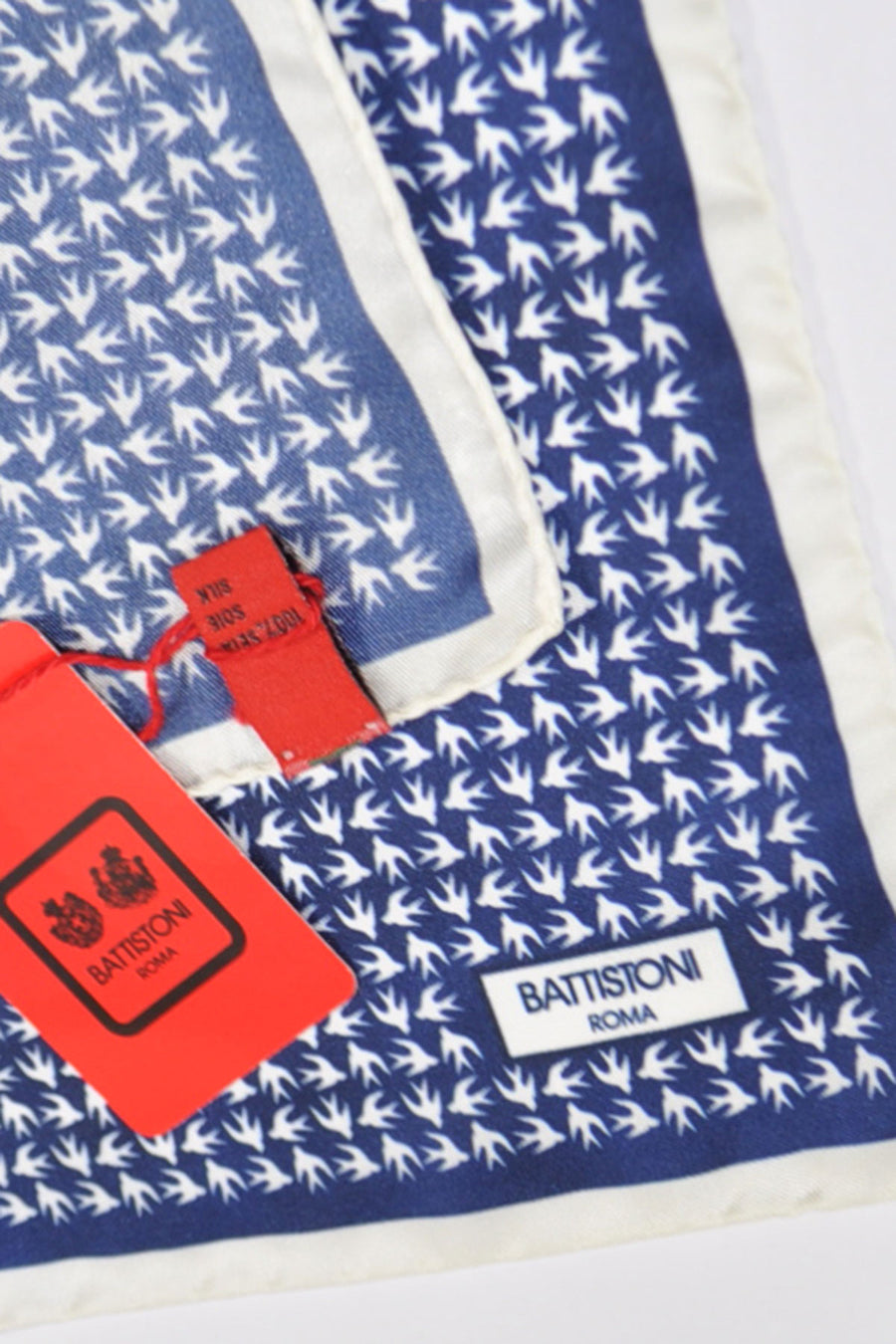 Battistoni Silk Pocket Square Navy White Birds SALE