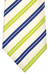 Battisti 7 Fold Tie Cream Navy Lime Stripes SALE