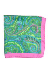 Battisti Silk Pocket Square Pink Green Paisley