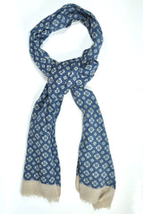 Battisti Wool Scarf Navy Silver Gray Geometric