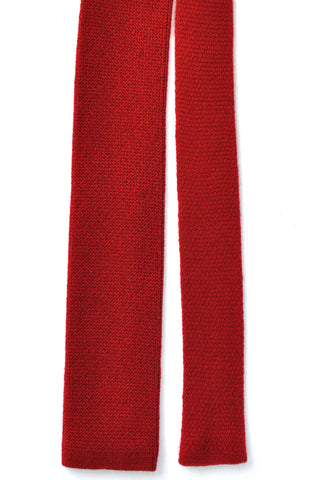 Battistoni Square End Tie Cashmere Red