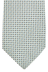 Battisti 7 Fold Tie Gray Blue Silver Geometric