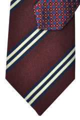 Battisti Silk Special Edition Tie Maroon Navy Stripes