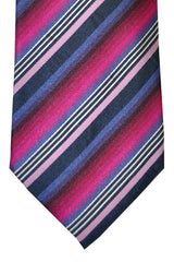 Battisti Sevenfold Tie Fuchsia Purple Pink Stripes