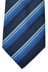 Battisti Sevenfold Tie Navy Blue Dark Navy Stripes