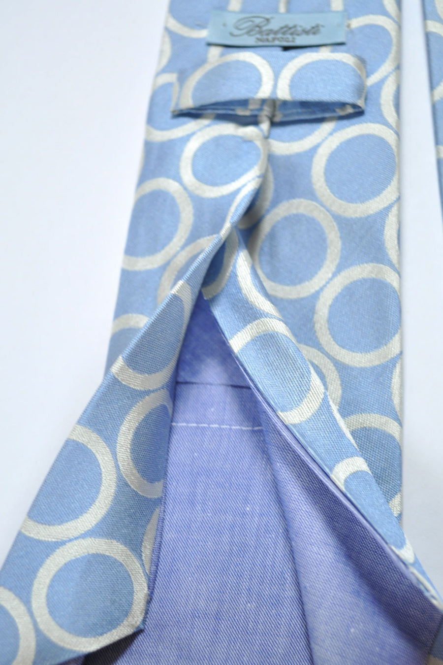 Battisti Tie Blue Gray Silver Circles - Hidden Pocket Edition