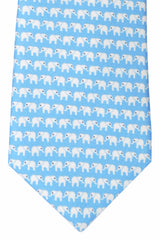 Battistoni Tie Sky Blue White Elephant Novelty