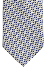 Battistoni Tie Navy White Shell Print