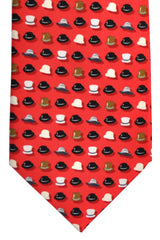 Battistoni Tie Red Hats Print