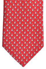 Battistoni Tie Red Gray Silver Lock Print