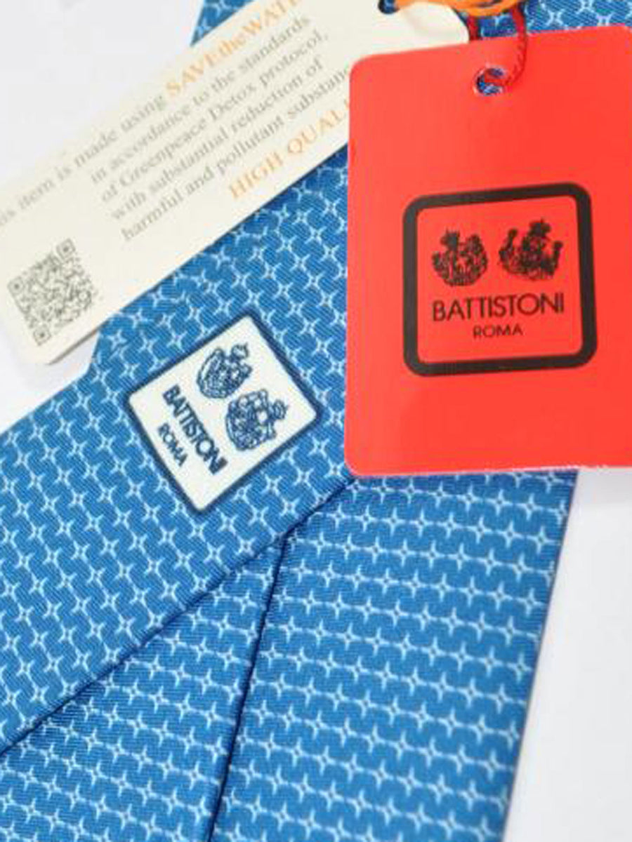 Battistoni Silk Tie Navy Geometric Design