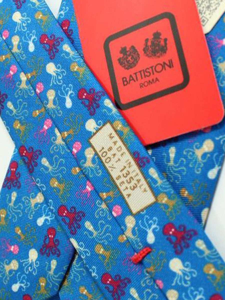 Battistoni Tie Dark Blue Multicolored Octopus Design - Spring / Summer 2018 Collection