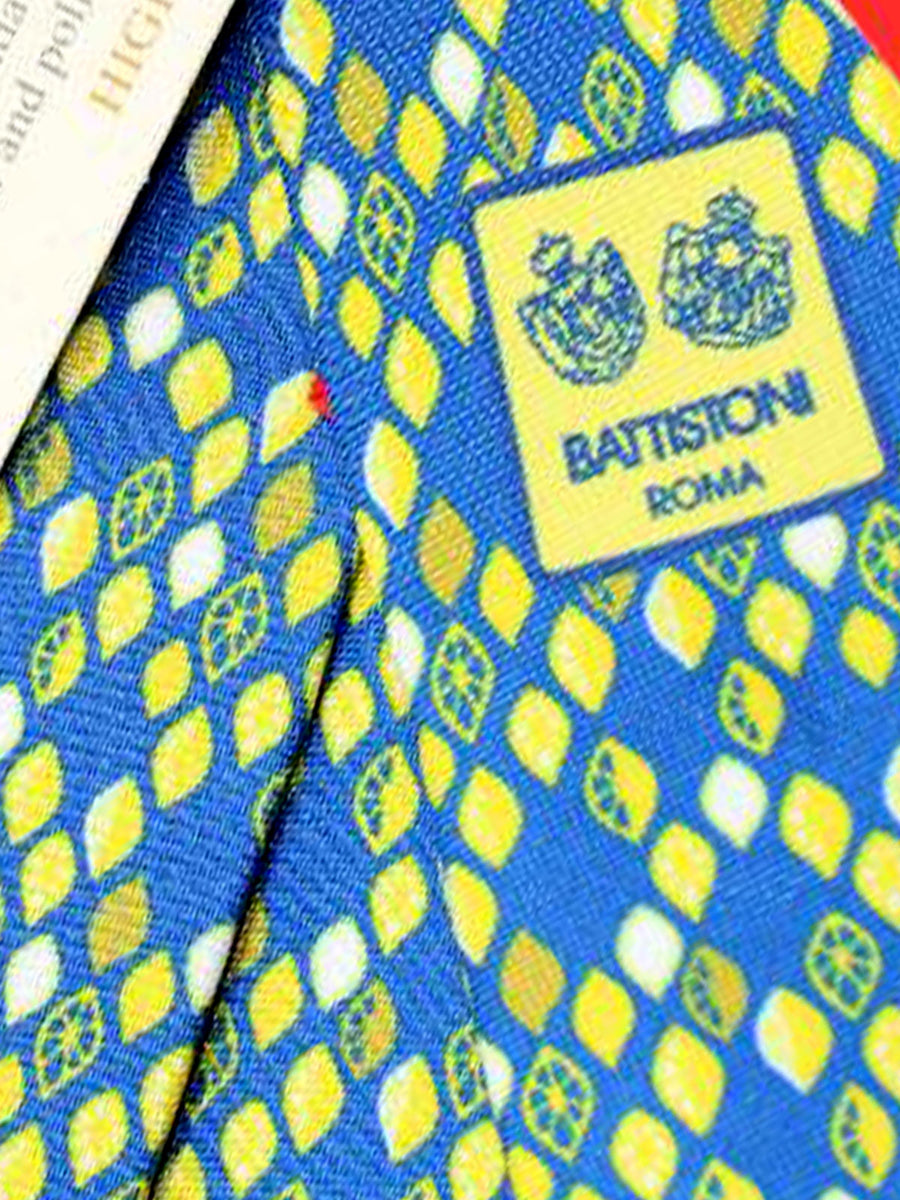 Battistoni Tie Royal Blue Yellow Lemons Design - 2018 Collection