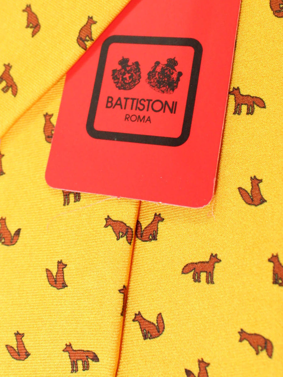 Battistoni Silk Tie Yellow Fox Novelty Print