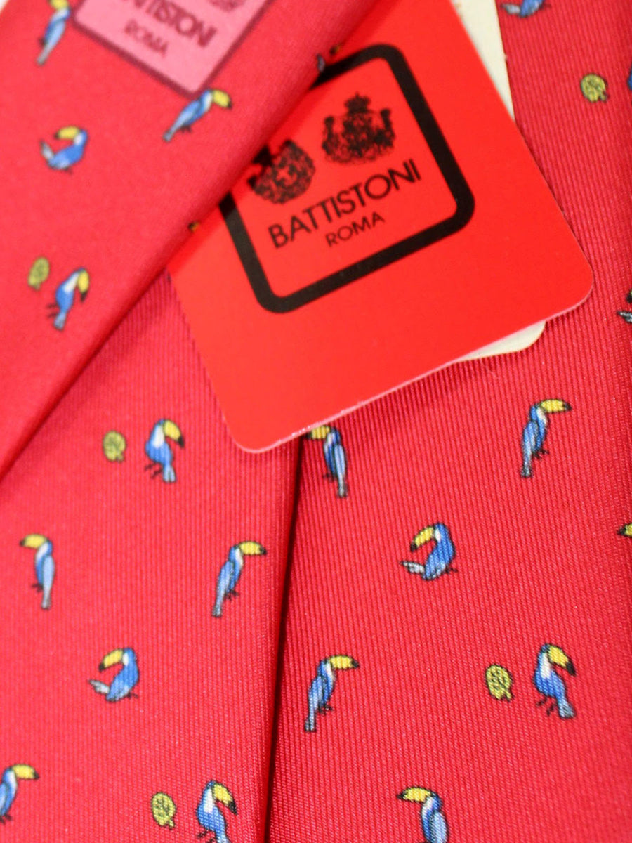 Battistoni Silk Tie Red Bird Novelty Print