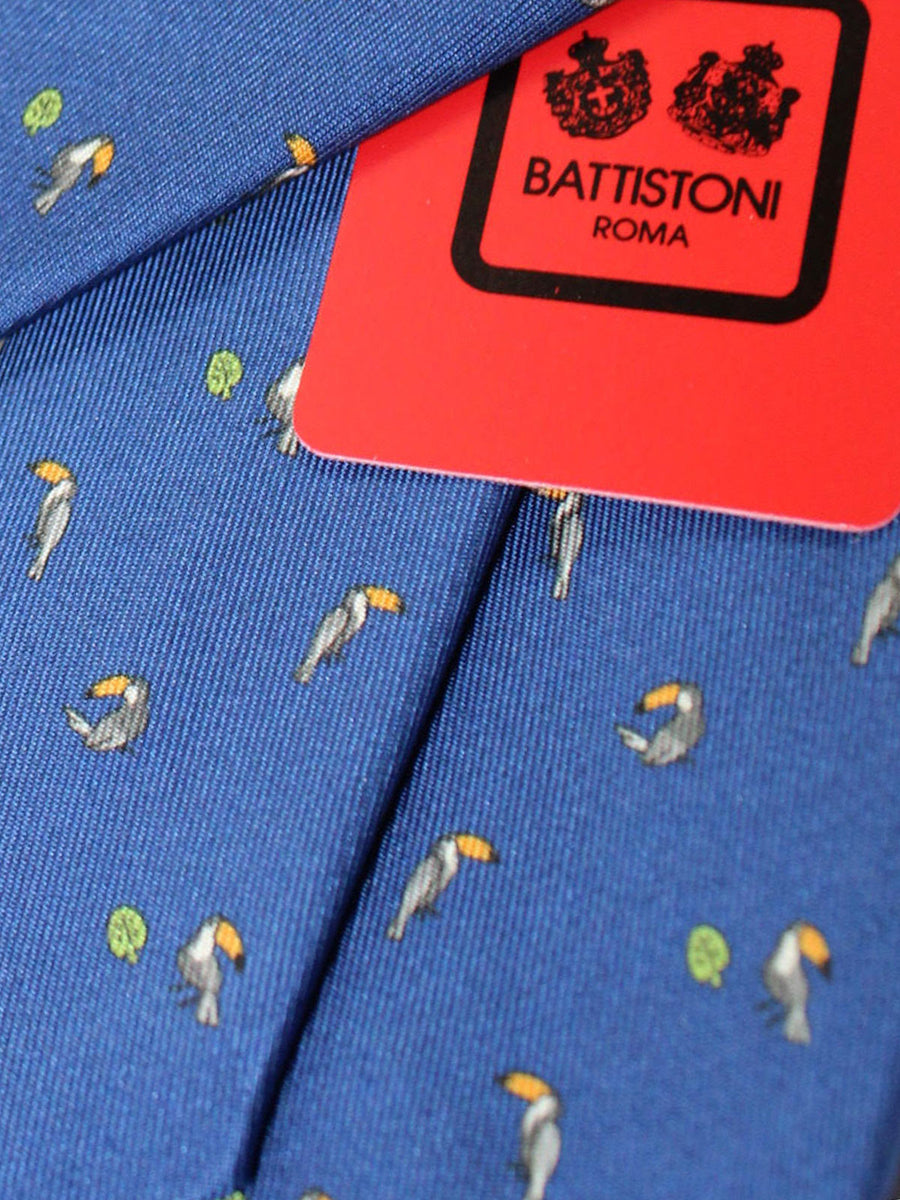 Battistoni Silk Tie Navy Bird Novelty Print