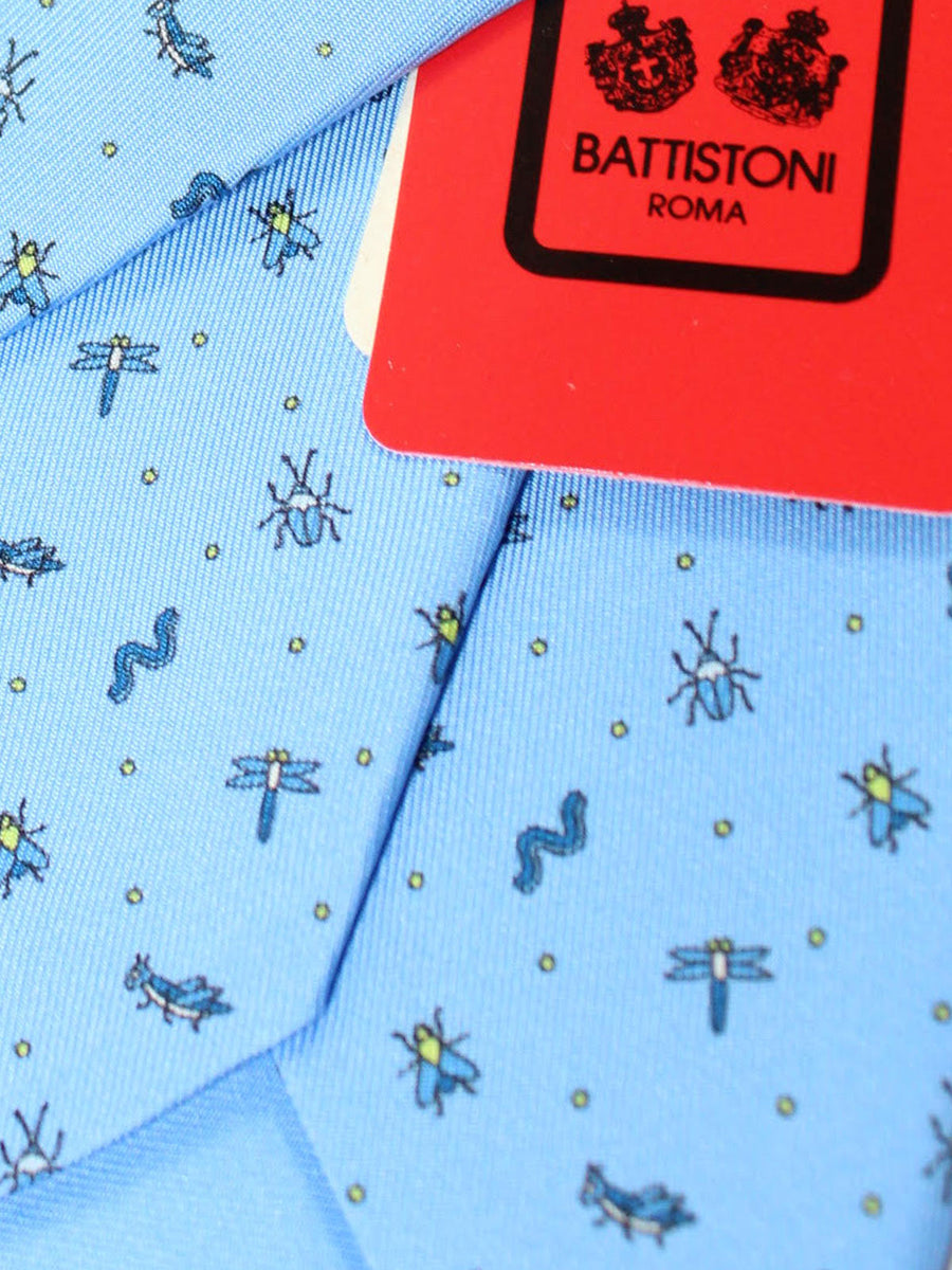 Battistoni Silk Tie Blue Bugs Novelty Print