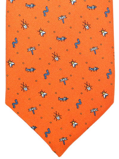 Battistoni Silk Tie Orange Novelty Print