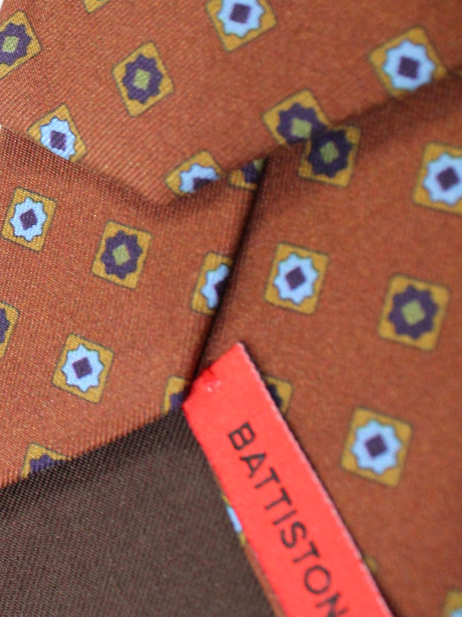Battistoni Silk Tie Brown Blue Geometric