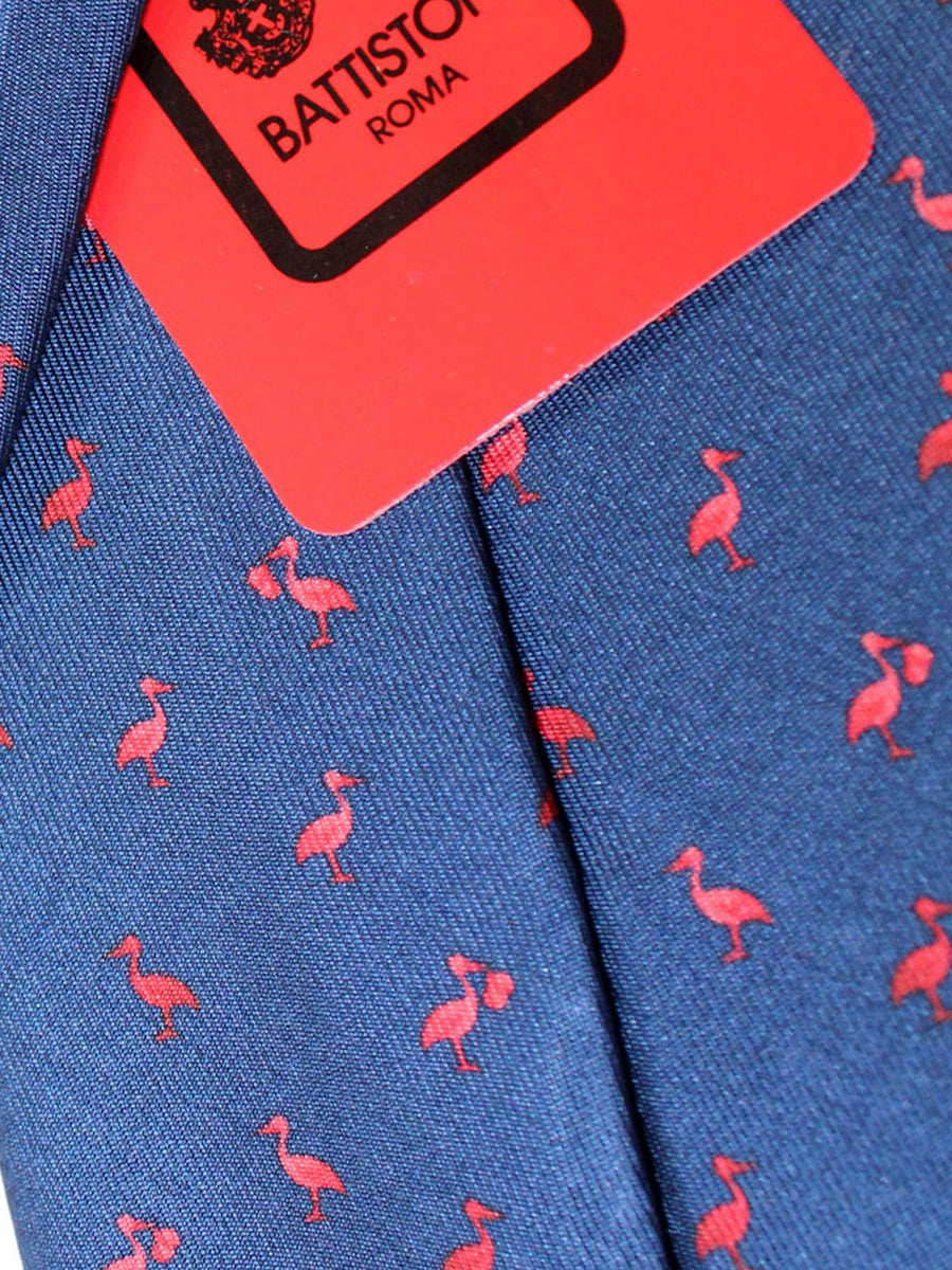 Battistoni Silk Tie Navy Red Stork