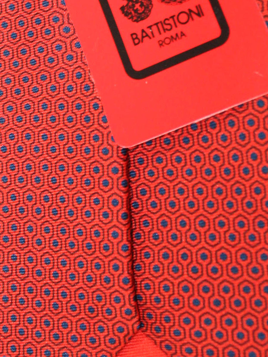 Battistoni Tie Red Navy Geometric Design - Spring Summer 2020