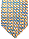 Battistoni Tie Navy Orange White Geometric Design - Spring Summer 2020