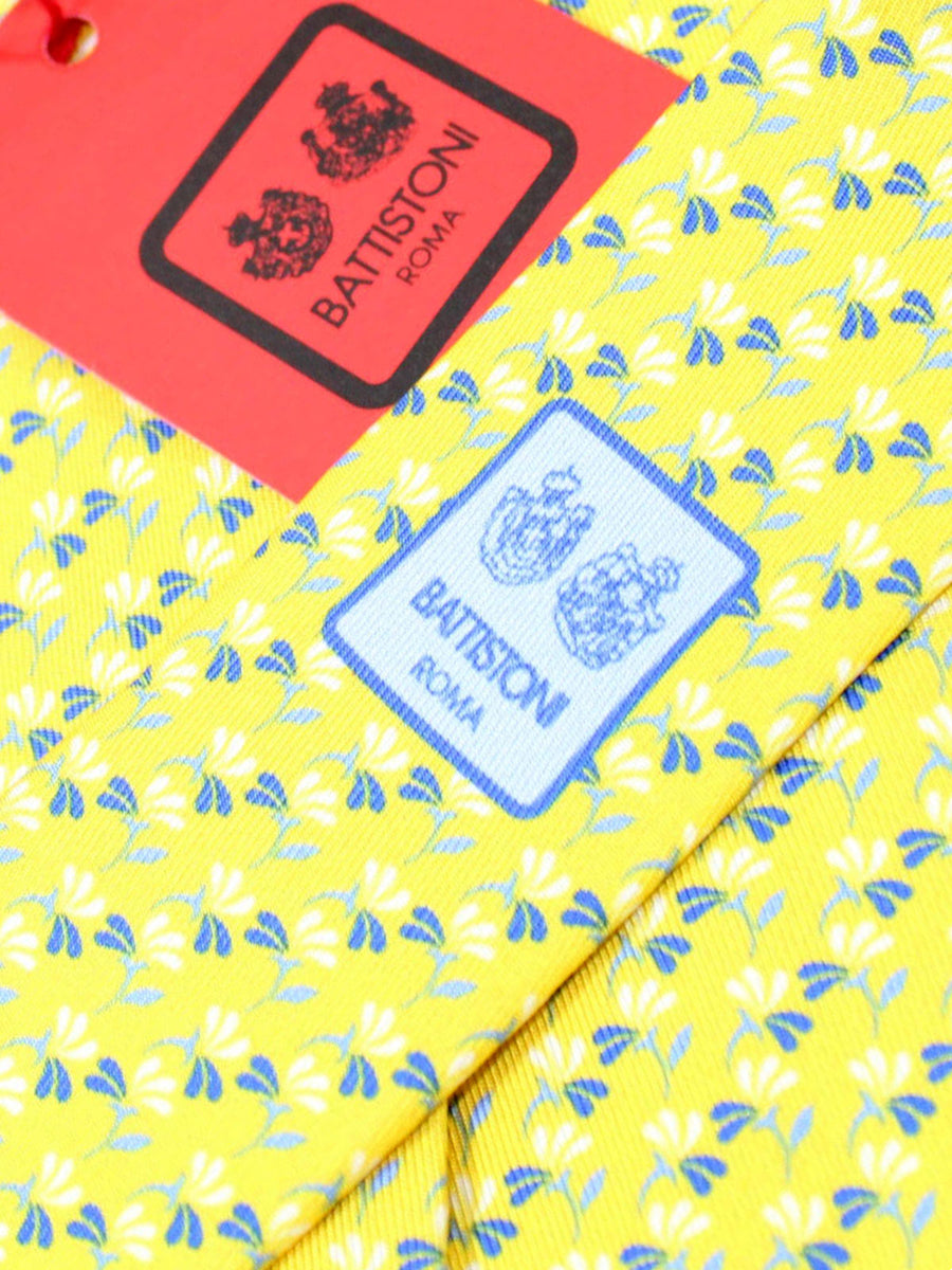 Battistoni Silk Tie Yellow Blue Floral - Spring / Summer 2020 Collection