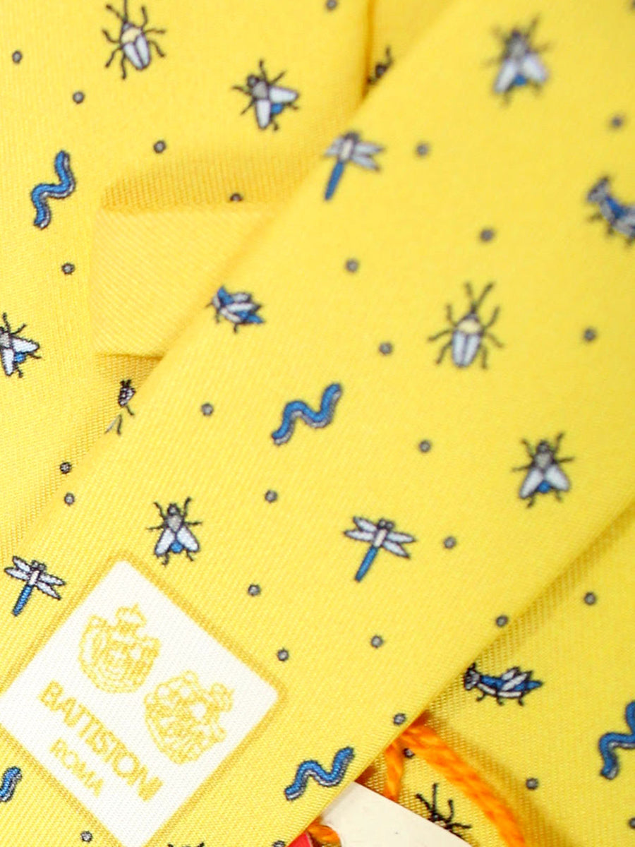 Battistoni Silk Tie Yellow Garden Insects - Spring / Summer 2020 Collection