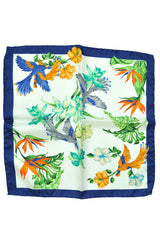 Battisti Silk Pocket Square Bird Floral