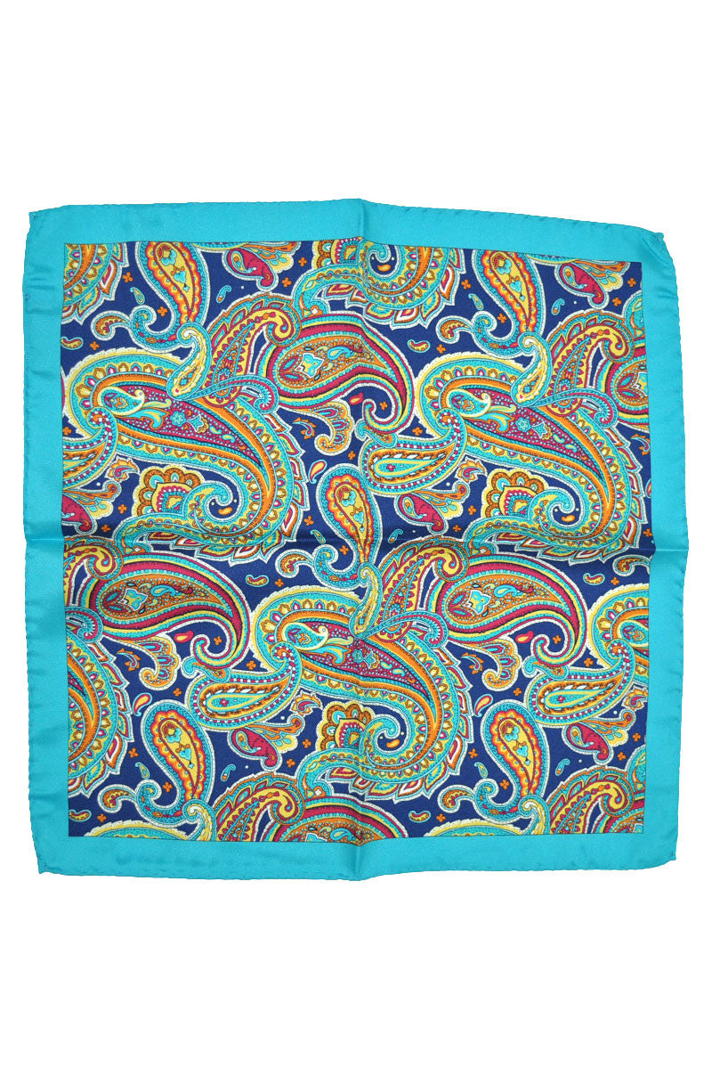 Battisti Silk Pocket Square Navy Aqua Yellow Paisley FINAL SALE