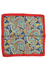 Battisti Pocket Square Navy Red Paisley