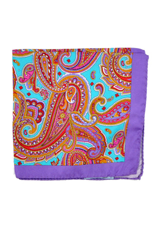 Battisti Silk Pocket Square Purple Paisley Aqua Orange