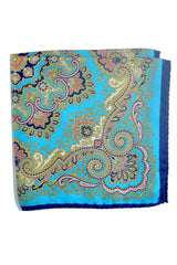 Battisti Silk Pocket Square Aqua Gold Navy Ornamental