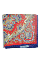 Battisti Silk Pocket Square Red Gold Navy Ornamental